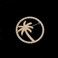 Carino rotondo coconut Palm Brooch Donne Pearl Strass Albero Spille Suit Suit Vestito Pin Pin Gioielli Accessori per gioielli
