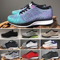 2021 Fly Racer Trainer Knit Black White Grey Sports Run Shoes Hombres Mujeres Solar Snow Sneakers Zapato 36-45