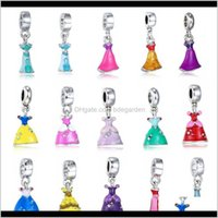Charms Erkenntnisse Komponenten Schmuck Drop Lieferung 2021 Legierung Charme Perlen baumeln Europäische Schmucksachenamel Kleid Anhänger Sier plattierte Mädchen Rock