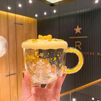Starbucks Herbst 2020 Golden Osmanthus Glaskaffee Schöne Milchschale mit Abdeckungssatz 320ml