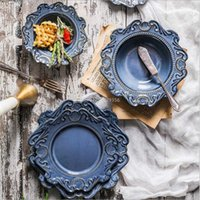 Blue and White Antique Relief Ceramic Dinner Plate Set Porcelain Main Dish Serving Tray Dessert Salad Dishes Tableware 1 Pc