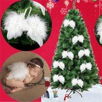 Aile de plumes blanches Belle décoration d'arbre de Noël ange chic d'ange suspendue ornement maison ornements de mariage xmas fwd8771