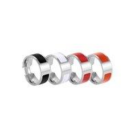 럭셔리 디자인 6mm 티타늄 여성을위한 스테인레스 스틸 사랑 링 남자 쥬얼리 커플 간단한 H 글자 열린 링 크기 5-11