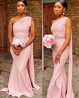 African Plus Size Pink Bridesmaid Dresses with Train One Shoulder Ruched Pleats Maid of Honor Chiffon Beaded Sashes Wedding Guest Gown vestidos Custom Made