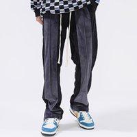 Drawstring Striped Match Pants Velvet Casual Sweatpants Men Women Straight Loose Style Fleece Trousers