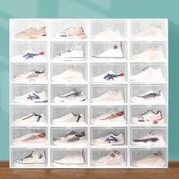 Clear Multicolor Box Box Складной Хранение Пластиковый Прозрачный Домашний Организатор Установленные дисплей Наложенные Комбинированные Обувь Контейнеры Контейнеры Кабинета Кабинета JY0532