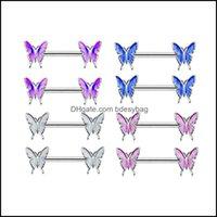 Jewelrystainless الصلب الحلمة فراشة الحديد حلقات ساحرة حلقات النساء الجسم ثقب مجوهرات انخفاض التسليم 2021 Quex2