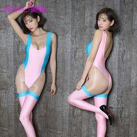 Sexy Open Biancheria intima file High Fork One Piece Swimsuit Style Sexy Donne Calze Abbigliamento per adulti