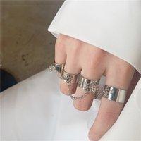 Cool Punk Hip Anillos Pop Multi-capa Cadena ajustable Cuatro anillos de dedo abierto Aleación femenina Anillos de giro para el Regalo de la fiesta de las mujeres 1612 T2