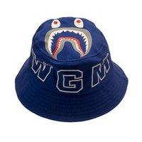 أطفال بنين بنات الصياد دلو قبعة الأطفال الصيف القبعات القرش الوجه الكرتون قبعات طوي شاطئ الشمس شقة أعلى سكيت القبعات رئيس ارتداء G42R31N