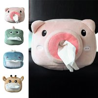 Car Tissue Box Cases Plush Toy Animals Creative Cute Lovely Cartoon Soft Napkin Tissues Paper Holder Styling Portable Papers Package Case For Home Office