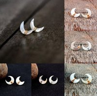 Earrings Silver Gold Crescent Jewelry Ins Fashion Natural Pearly Shells 15MM Stud Earrings Handmade Moon Earring DFF4668