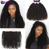 Human Hair Bulks 5x5 4x4 13x4 Lace Frontal With Bundles 100% Remy Closure Brazilian Kinky Curly