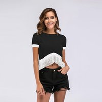 2019 Summer Women Splice Lace Short Bare Umbilical Short Sleeve Crew Neck Knitted T-shirt Casual Female