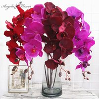 Heads Big Orchid Artificial Flower Branch Phalaenopsis Butterfly Black Burgundy Colorful Wedding Home Decor Potted Wholesalers Decorative Fl