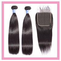 Brazilian Human Virgin Hair Straight 2 Bundles With 6*6 Lace Closure Free Middle Three Part 16-28inch Double Wefts