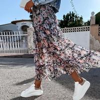 Skirts Summer High Waist Long Print Skirt Floral Split 2021 Women Casual Chiffon Beach Faldas Female Boho Elastic Holiday