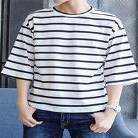 футболка летняя полосатая короткая футболка мужская свободная универсальная тенденция половина рукава