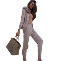 İki Parça Elbise MVGIRLRU Kadın Örme Suits Fermuar Kazak 2 Adet Kıyafetler Kürk Kapüşonlu Hırka Tops ve Pantolon Seti