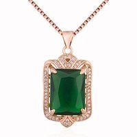 المرأة قلادة 925 فضة ارتفع الذهب مطلي المولد الأخضر كريستال قلادة القلائد مجوهرات هدايا للأم السيدات زوجة الفتيات لها