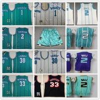 Genäht Basketball Lamelo 2 Ball Jerseys 1992-93 Mitchell und Ness 1 Tyrone Larry Muggsy Johnson Dell 30 Curry Alonzo 33 Trauer Retro Schwarz Weiß Grüner Lila