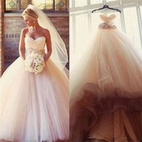 Tulle Beaded Sash Flower Cheap Sweetheart Sleeveless Country Bridal Dresses Ball Gowns Charming Blush Pink Wedding Dresses