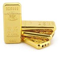 Gold Bar Brique en forme de meuille de meule en forme de meuille de cigarette ultra mince Butane Fumeur Flame Flame Clâme Pas d'accessoires de gaz Outils