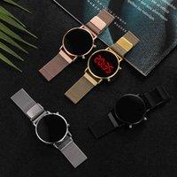 디자이너 럭셔리 브랜드 시계 RY 로즈 골드 디지털 레드 LED 다이얼 여성 여성용 스테인레스 스틸 벨트 석영 숙 녀 자석 시계 방울