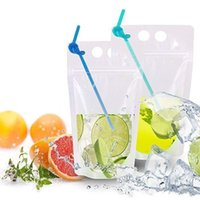 DHL UPS Fast Delivery Disposable Clear Drink Pouches Bags Plastic Drinking Bag with Straw Reclosable Heat-Proof Juice Coffee Liquid Bags 496