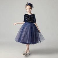 Girl's Dresses Flower Girl Dress Elegant Illusion Sequined Half Princess Knee-Length Luxury Blue O-Neck Lace Tulle Lovely Kids Party Gown H1