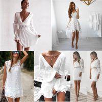 16 colores diseños mujeres vestidos de encaje blanco 2021 primavera verano sin mangas sexy hueco fuera bordado casual noche fiesta vestido de fiesta dama cestidos
