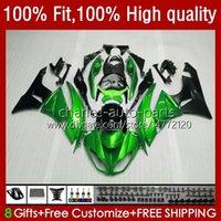 Injektionskroppar för Kawasaki Ninja ZX 6R 6 R 636 600 CC 600CC ZX600C 13NO.196 ZX636 ZX6R 09 10 11 12 ZX-636 ZX-6R 2009 2010 2011 2012 ZX600 09-12 OEM Fairing Metal Green