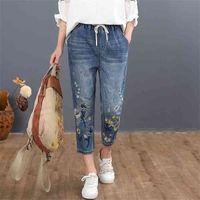 Max lulu chinês verão moda estilo senhoras vintage bordado jeans mulheres casual floral denim calças rasgadas harem calças