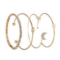 Простая мода звездная луна алмаз встроенный глянцевый персик сердца браслет из четырех частей набор шарм женские украшения браслеты