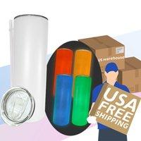 Magazzino locale !!! Sublimazione Tumbler Glow In The Dark Tumbler Colore UV Cambiare Tumbler 20oz Dritto Bambini Bottiglia Sippy Cup Magic Travel Cup
