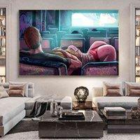 Graffitiセクシーな女性の恋人のキャンバス絵画オンザ美術館ポスタープリントの壁の写真リビングルームの家の装飾