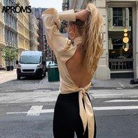 Практические старинные атласные блузки Ruched Blouse женщины сексуальные без спинки на шнуровке женская топ-футболка осенью длинные рукава женские блузки 201202