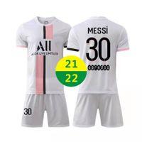 EE. UU. Fast 2021 de distancia Soccer Wear Messi Kit de manga corta Conjuntos Jerseys Soccers Formación de chándales 2022 Ropa de fútbol adulto Camisetas para niños Uniformes 21 22 con logo # blk-21b1