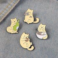고양이와 물고기 에나멜 핀 새끼 고양이 먹는 음식 도넛 국수 배지 달콤한 귀여운 핀백 버튼 액세서리 동물 애호가 선물