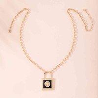 Ожерелья подвески Gsold Cool Модный преувеличенный черный энамал лев головки кулон ожерелье замок длинный геометрический металл животное