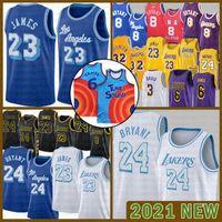 2021 Новый баскетбол Джерси Лос-АнджелесЛейкерсДоверие24.Bryant Blue Lebron 6 James Mens Meame Space Jam Tune Squad Silver 222