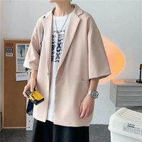 Men's Suits & Blazers Summer Formal Short-sleeved Blazer Fashion Business Society Mens Suit Jacket Korean Loose Casual Dress Men M-2XL