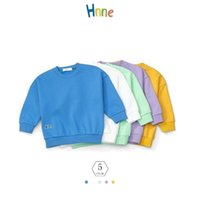 Hnne Autumn Winter Childrens Basic Sweatshirts Solid Unisex Boys Girls Warm Pullovers Kids High Quality Tops 3-14 Years 210915