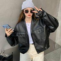 Autumn Women PU Leather Jackets Winter Woman Fake Coats Femme Short Women's