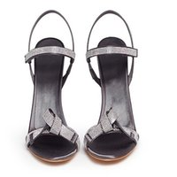 Grey Silk Single Strap Butterfly Knot Stiletto Heel Sandals Bling Crystal Thin High Open Toe Banquet Shoes