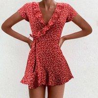 Chiffon Ruffle Dress Women Summer Bandage Dresses Short Sleeve Floral Printed V-Neck Dress Casual Beach Mini Dresses Sukienka