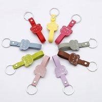 Anahtarlıklar Renkli PU Deri Anahtarlık Örgülü Halat Geniş Kordon DIY Zincirleri Tutucu Araba Çanta Anahtarlık Erkek Kadın Anahtarlık
