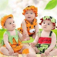 아기 아이 의류 여름 옷 모자는 소년과 소녀 아이들의 옷을 입고 아기 면화 멜빵 수박 타이거 의류 세트 Tracksuit G60R51I