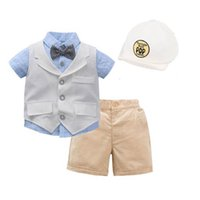 Baby Clothing Sets Boys Suits Kids Clothes Summer Gentleman Cotton Short Sleeve Shirts Shorts Hats 3Pcs Birthday Party Wear B7269