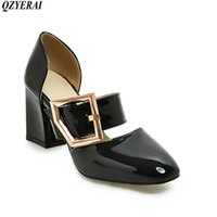 Summer Simple High Heel Square Root Buckle Sandals Single Shoes Wear-resistant Rubber Soles Black Size34-43